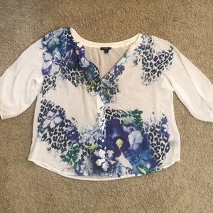 Blue Floral and Cheetah Button Front Top